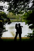 Engagement portrait in silhouette at Stratford Woods Park in Midland, Michigan