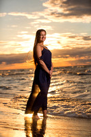 senior portrait with sunset on beach